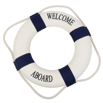 Harga niceEshop Navy Accent Nautical Welcome Aboard Decorative Cloth Life Ring Buoy Room Decor Dark Blue