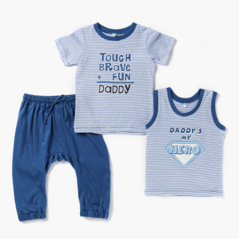 Nap Boys My Brave Daddy Hero Tee, Tank Tee And Meggings Set (Blue) Price Philippines