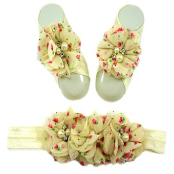 Floral Printed Baby Headband and Barefoot Sandals Set Price Philippines