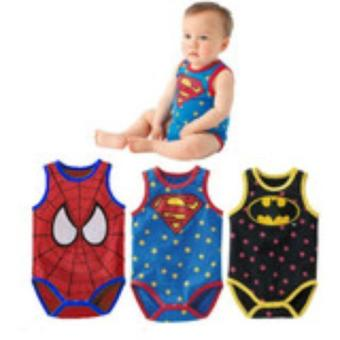 Baby Boys Cartoon Superman SpiderMan Batman Toddler Bodysuit Outfit Short Sleeve 95CM for 1-2 years - intl Price Philippines