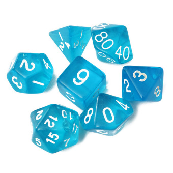 7-Dice Sided D4 D6 D8 D10 D12 D20 Magic-the-Gathering MTG D&D RPG Poly Game Set Blue Price Philippines