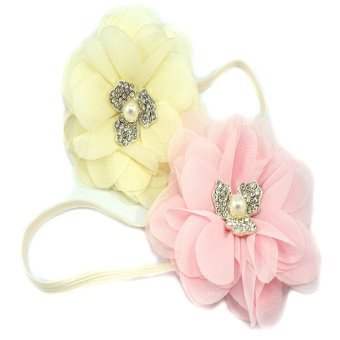 Baby Headbands Chiffon Flower with Rhinestone Set of 2 (Pink and Ivory) Price Philippines
