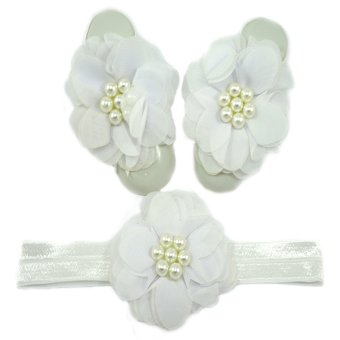 Baby Headband and Barefoot Sandals Set (Chiffon Flower) Price Philippines