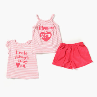 Nap Girls Mommy Bestie Strappy Tank, Tee And Shorts Set (Peach) Price Philippines