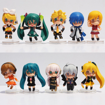 Harga 10pcs/set3Styles Optional 6cm Hatsune Miku Toy Figure Miku PVC Nendoroid Petit Vocaloid Figure