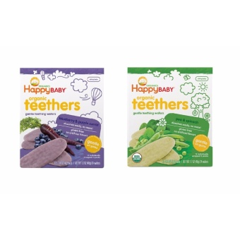 Harga Happy Baby Bundle of Gentle Organic Teething Wafers Purple Carrot and Blueberry, Pea and Spinach