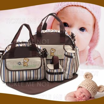 Tickle TMN-130 5-in-1 Multi function Baby Travel Diaper Tote Bag(Brown) Price Philippines