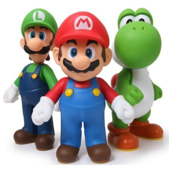 Harga 3pcs/lot PVC Super Mario Bros Luigi Mario Action Figure Toys 5'' Super Mario Figure Model Doll Toy For Children