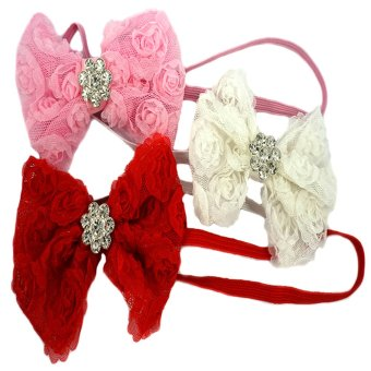Baby Headbands Rosette Flower with Rhinestone Set of 3 (Pink, White and Red) Price Philippines
