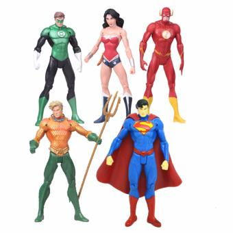 Hequ Anime 7pcs/set Superheroes Batman Green Lantern Flash Superman Wonder Woman PVC Action Figures Kids Toys Dolls Gifts for Girls - intl Price Philippines
