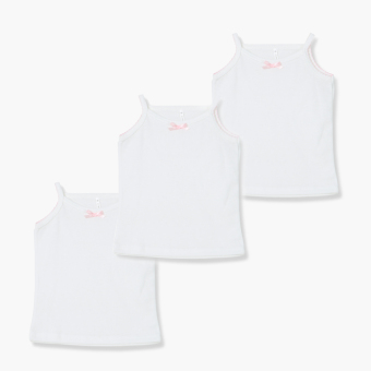 Minnies' & Mimi Girls 3-piece Plain Thin Fagotting Strappy Top Set (White) Price Philippines