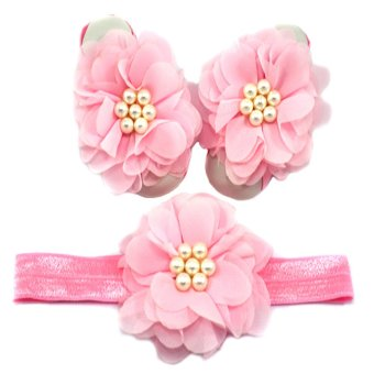 Chiffon Flower Baby Headband and Barefoot Sandals Set (Pink) Price Philippines