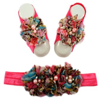 Floral Printed Baby Headband and Barefoot Sandals Set (Salmon) Price Philippines