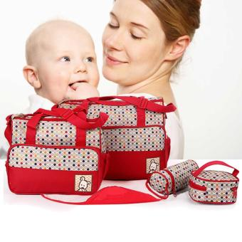 Tickle TMN- 124 5-in-1 Multi-function Baby Diaper Tote Handbag Set (Red) Price Philippines