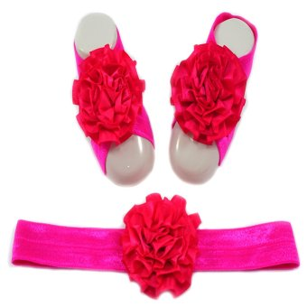 Baby Headband and Barefoot Sandals (Satin Ruffled Flower) Hot Pink Set 0mons Price Philippines