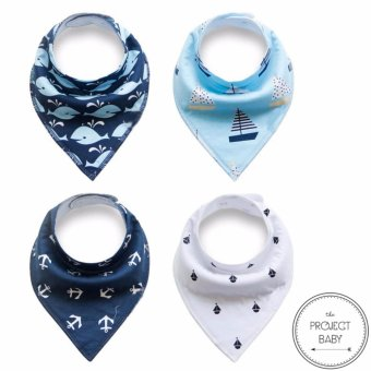 Harga 4 sets / lot Bandana Bibs 100% cotton fashion for babies unisex saliva burp towel (nautical)