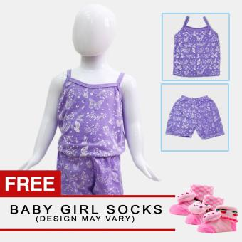 Harga Baby Steps Paradise Baby Girl Terno Clothing Sets (Purple) with Free Pair of Socks