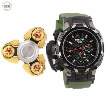 Harga D&D Shhors Men's Silicone Strap Sports Watch SH-80071A with Greatnes D&D Metal Tri-Spinner Fidget Toy Aluminum Alloy EDC Hand Spinner Rotation (Random Color)