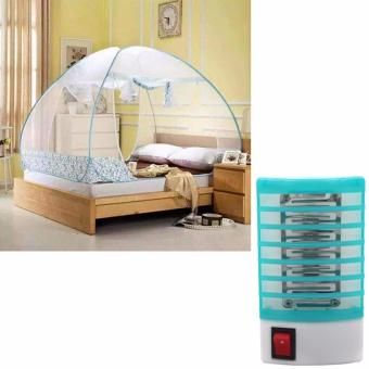 Harga Mosquito Net 1.8m King (Blue) with Dinwang 388/DW-777 Electron Mosquito Killer Mini Night Lamp (Blue)