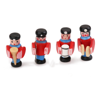 Harga Miniatures Doll Wooden Military Band People 4pcs