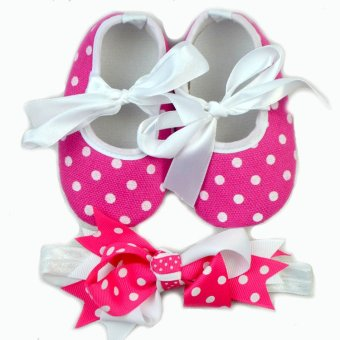Baby Shoes and Headband in Set (Pink/White) Price Philippines
