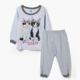 Nap Girls So Cute Long Sleeved Shirt and Pajama Set (Gray) Price Philippines