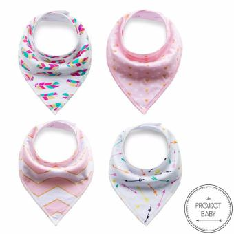 4 sets / lot Bandana Bibs 100% cotton fashion for babies unisex saliva burp towel (neon feather) Price Philippines