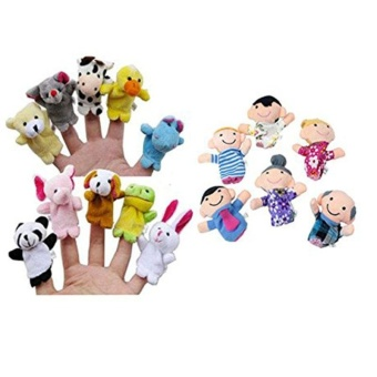 Harga 16PC Finger Puppets Animals People Family Members Educational Toy - intl