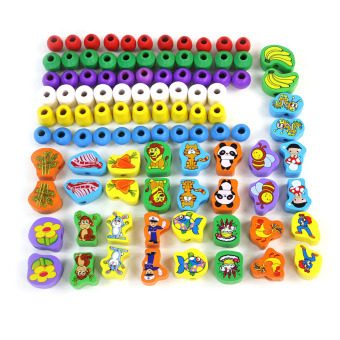 360WISH 100 Grains Wooden Animals Printed Beads Set for Kids Educational Toy Price Philippines