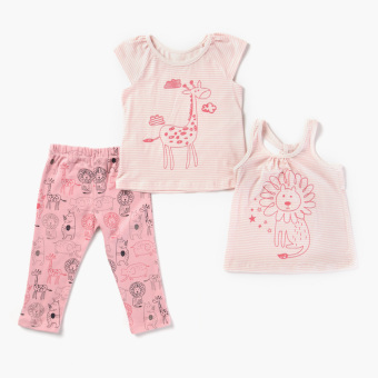 Nap Girls Lion And Zebra Tank, Tee And Leggings Set (Pink) Price Philippines