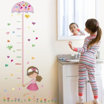 Kids Growth Chart Height Measure Removeable Wall Sticker For DIY Kid's Room Children Kids Baby Home Room School Nursery Decoration - Girl Hold Pink Umbrella - intl Price Philippines