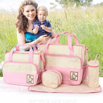 Tickle TMN- 125 5-in-1 Multi-function Baby Diaper Tote Handbag Set (Pink) Price Philippines