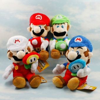 Harga 4pcs/lot Super Mario Bros Plush 17cm Mario & Luigi Holding Mushroom & Sun Flower Plush Toys Doll Soft Stuffed Toys Gift for Kids - intl
