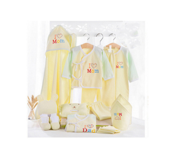Harga 18Pcs In A Pack Newborn Baby Clothes Baby Organic Cotton (Yellow)