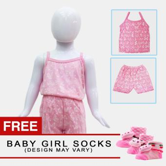 Harga Baby Steps Paradise Baby Girl Terno Clothing Sets (Pink) with Free Pair of Socks