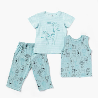 Nap Boys Animals Tee, Muscle Tee And Pajama Set (Blue Green) Price Philippines
