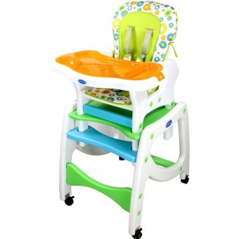 Bestbaby 3 in 1 Adjustable Multi-function Baby Feeding Tray Highchair Rocking chair(Blue-Green) Price Philippines