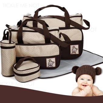 Tickle TMN- 125 5-in-1 Multi-function Baby Diaper Tote Handbag Set (Brown) Price Philippines