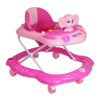 Harga Cutie First Steps Elephant Baby Walker with Safety Bump Guard and sounds and lights (Pink)