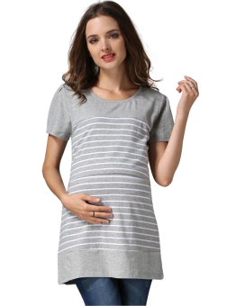 Harga MamaLove Cotton Stripe Pregnancy Maternity Clothes Short Sleeve Maternity Tops Nursing Top Breastfeeding Clothing For Pregnant Women Europe Size(Grey)Fit (M~XXL) - Intl