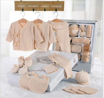 Harga 15Pcs In A Pack Newborn Baby Clothes Baby Organic Cotton (Light Brown)