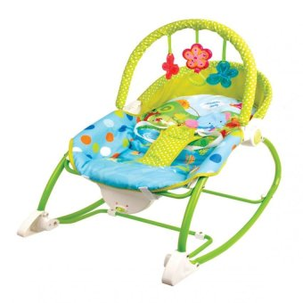 Harga Unisex Baby Rocker Chair With Music & Vibration For Infants ToToddlers Dots Paradise (Blue/Green)