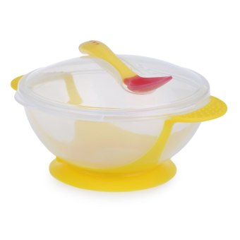 2pcs Bright Color Bowl with Suction Cup Assist Transparent Cover Temperature Sensing Spoon for Babies Price Philippines