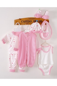 8pcs Newborn Babies Clothes Set Trendy Cotton Stripe Dot PINK Price Philippines