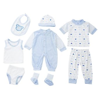 8pcs Newborn Babies Clothes Set Cotton Stripe Dot (Blue) - intl Price Philippines