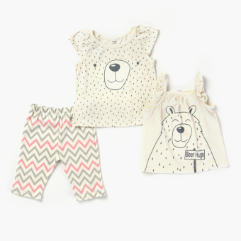 Nap Girls Bear Tank, Tee And Leggings Set (Cream) Price Philippines