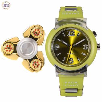 Harga SHHORS 80033 Kid's Colorful Fashion Water Resistant Luminous PU Strap Watch with Greatnes Metal Tri-Spinner Fidget Toy Aluminum Alloy EDC Hand Spinner Rotation