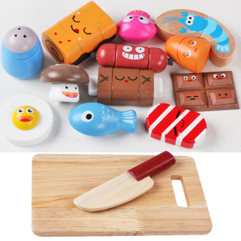 360WISH 14Pcs Wooden Delicious Food Expressions Kitchen Cutting Toy Early Development and Education Toy for Baby Price Philippines
