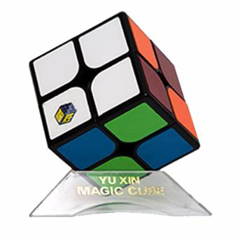 Harga Rubik's Cube YuXin White Kirin Brain Teasers Speed Magic Cube 2x2 Puzzles YX1062 Black Body with stand
