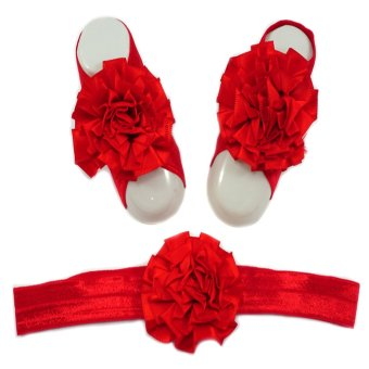 Baby Headband and Barefoot Sandals (Satin Ruffled Flower) Red Set 0mons Price Philippines